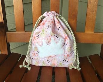 Princess Gift Bag, Baby Shower Gift, Birthday Gift, Cloth Bag, Drawstring Bag, Gift for Girls, Halloween Bag, Zero Waste, Trick-or-Treat Bag