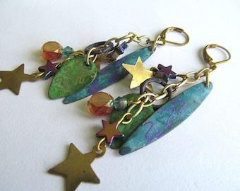 Falling Stars Cluster Long Dangle Earrings, Bohemian Earrings, Artisan Earrings, Statement Jewelry, Gypsy Jewelry, Boho, Moonlilydesigns