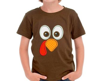 Turkey Face T-shirt Applique Machine Embroidery Design 5 sizes TG022