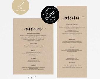 Rustic Printable Wedding Menu Template, Kraft Menu Cards, Menu Template, Editable Menu, Rustic Wedding, Editable PDF Instant Download #E014