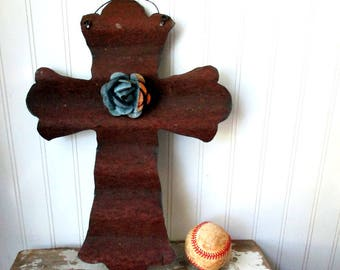 Reversible corrugated tin cross rusty and galvanized with removable magnet tin rose wall hanging Farmhouse decor