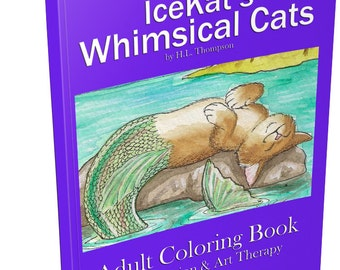 IceKat's Whimsical Cats Adult Coloring Book digital printable