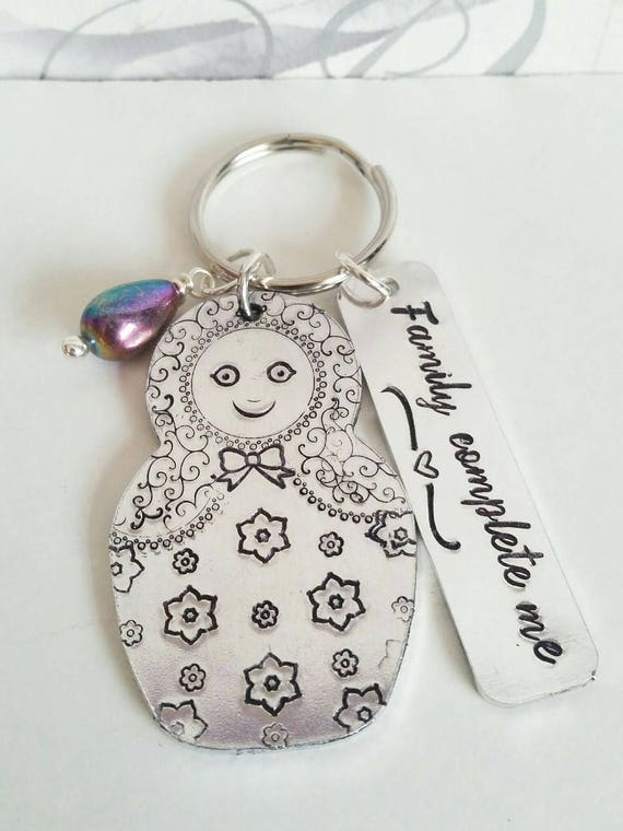 Family Russian Doll keyring, hand stamped Babushka keychain, family complete me, gift for her