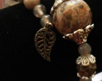 Smoky Quartz and Chrysanthemum Stone Wrap Bracelet