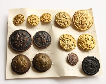 Vintage Military Buttons, Waterbury Button Co., City Works NY Button, Circa 1940's-1980's