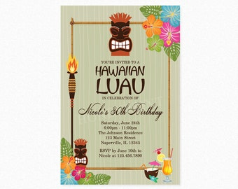 Luau Birthday Party Invitation, Tiki Birthday Party Invitation, Tiki Torch, Tropical Invitation, Personalized, Printable or Printed