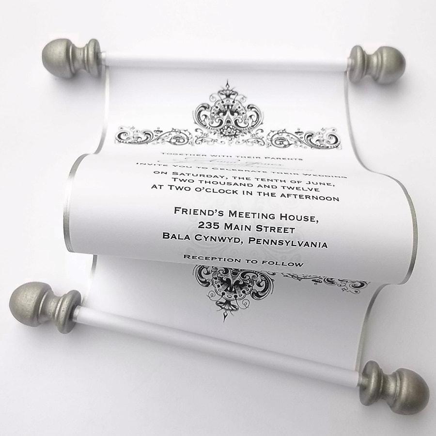 Elegant wedding invitation scrolls black and white wedding