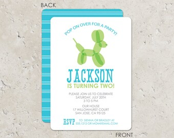 Balloon animal birthday party invitation- turquoise and green