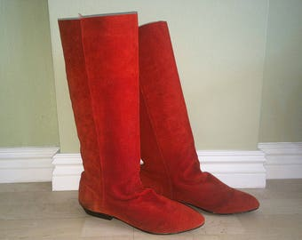 Vintage 80s Slouch Boots 1980s Scrunch Boots Spicy Cinnamon Red Suede Leather Boho Hipster Pixie Elf Booties Deep Red/Orange Size 7 CLICKS