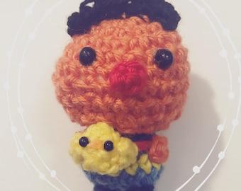 Ernie, Sesame Street, Amigurumi, crocheted figurine, presentidea, children tv series, rubber ducky, doll, figurine, kawaii