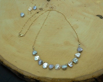 Reiki Healing, Pearl Necklace, Citrine, Sincerity, Balance Necklace, Personal Power, Happiness, Creativity, Prosperity