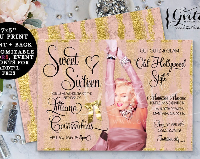Marilyn Monroe party printable invitations, 1950s style, glitz and glam, hollywood party theme, birthday party printable sweet 16 invites.
