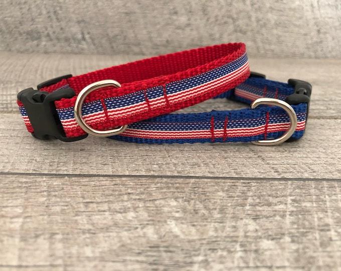 "The Freedom III | Designer 5/8"" Width Dog Collar | CupcakePups Collars | Fourth of July | American Flag | Small Dog Collar"