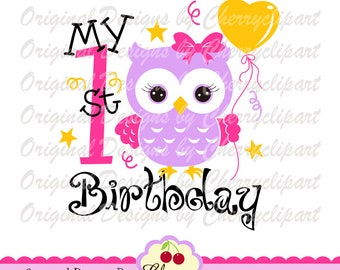 My 1st Birthday SVG DXF,Birthday owl with heart balloon svg, Birthday Silhouette & Cricut Cut Files BIR05 -Personal and Commercial Use