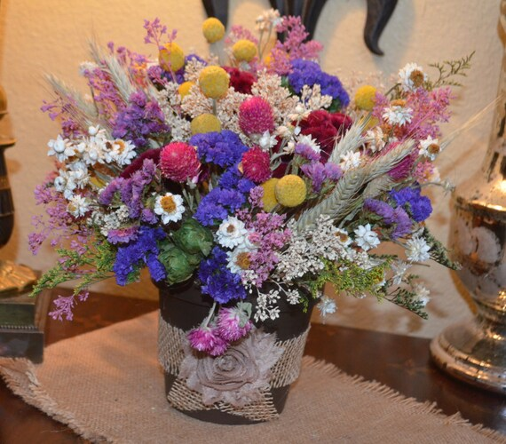 Dried flower arrangement with colorful pink purple yellow and mightylinksfo