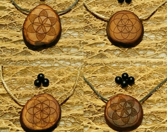 Flower of life - Seed of life 2 / Avocado stone necklace , avocado pit pendant , seed carving / natural jewelry , handcraft