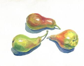 ORIGINAL PAINTING pears acrylic painting, kitchen painting, kitchen wallart, ripe fruit, home decor, nice gift