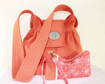 Boho Orange Pleated Teens Bag Back to School with Matching Zipper Pouch Wrist
