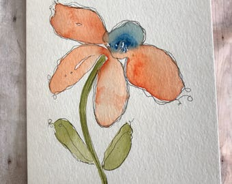 Original Watercolor Card, Homemade Cards, Hand Painted Greeting Cards