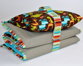 Nap Mat Cover with Blanket, Pillowcase, Handle and Strap Attached - Pick a Print - Kindermat Cover for School, Daycare, or Home Naptime Use