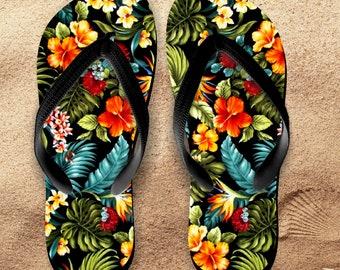 Hawaii Flip Flops/ Hawaii Hibiscus Tropical Flip Flops / Hawaii Souvenir Luau Island Flowers And Feathers Beach Vacation Sandals
