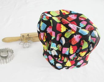 Colorful Cupcakes on Black Child Chef Hat - Adjustable