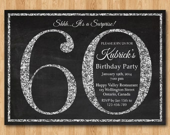 Surprise 60th Birthday Invitation Silver Glitter 60th