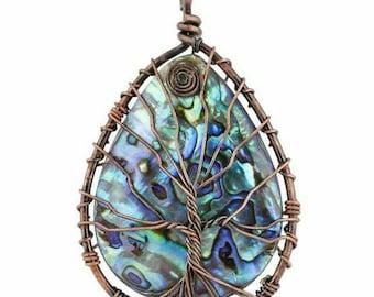 Tree of Life New Zealand Paua (abalone) Shell Copper Pendant
