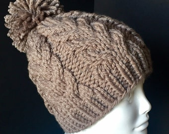 Chunky Cabled Winter Hat, Taupe
