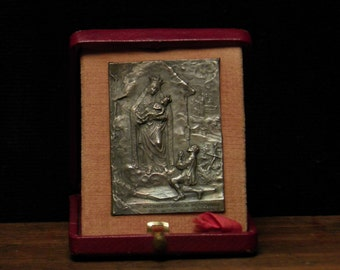 Antique Italian religious  travellers altar in box Madonna of Saronne