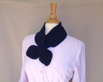 Cashmere Ascot Scarf, Navy Blue, Pull Through Keyhole, Small Neck Scarf, Hand Knit Neck Warmer, Womens