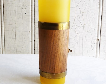 Mid-Century Gold, Dark Yellow Tiki Glass, Wrapped in Wood with Goldtone Trim - 1960s Libbey Tumbler, Like Siesta Ware - Vintage Barware