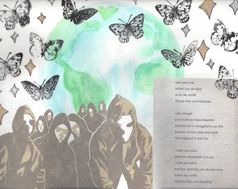 BUTTERFLY (mixed media on paper)