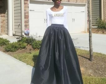 "Satin Taffeta Maxi Ball Skirt (XS - 6XL) Black, Teal, Yellow, Lavender, Orange ""Brandy"""