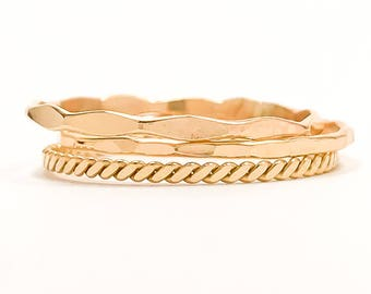 Gold Thin Stacking Rings- Set of 3