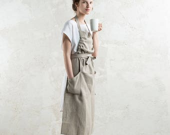 Natural linen apron, 15 colors, Long linen apron, Full apron, Flax grey apron, Linen aprons for women, Long apron woman, Kitchen apron