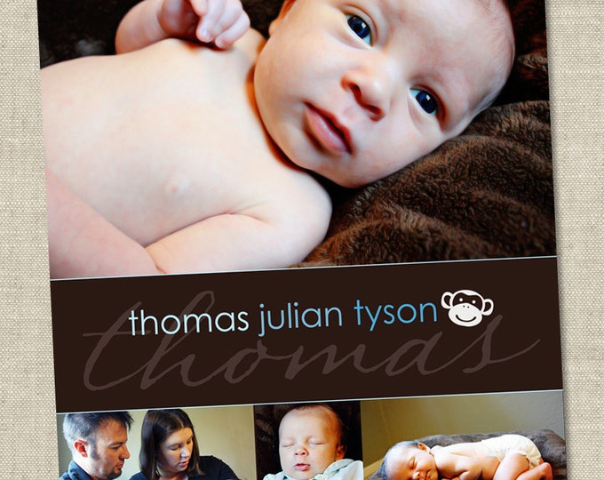 Monkey Birth Announcement - Printable Digital File