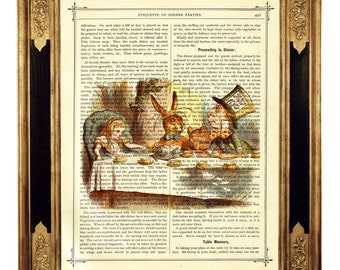 Alice in Wonderland Tea Party Mad Hatter Poster color - Vintage Victorian Book Page Art Print Steampunk