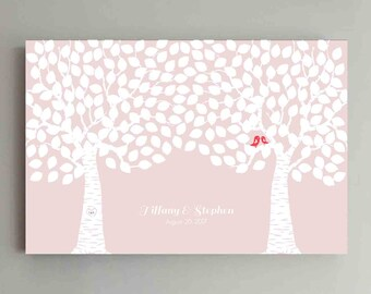 225 Guest Wedding Guest Book Wood Two Double Tree Wedding Guestbook Alternative Guestbook Poster Wedding Guestbook Poster - Pink Blush