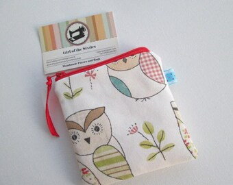 HALF PRICE SALE Owls Coin  Purse