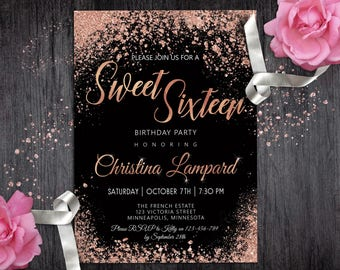 Sweet 16 invitation etsy sweet 16 invitation rose gold black birthday invitation for girls digital glitter 16th invite teen glam stopboris