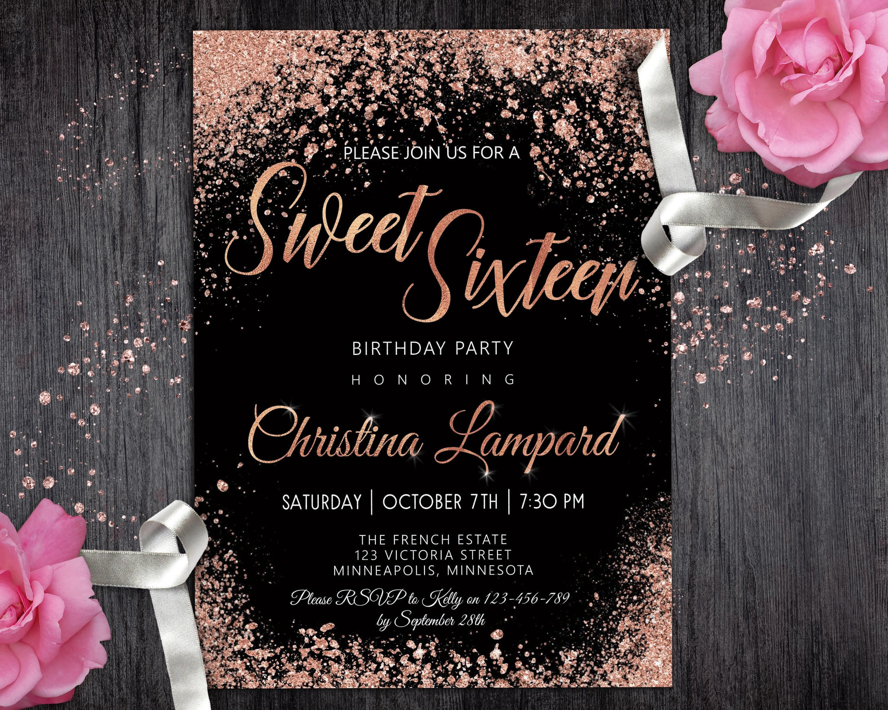 Pink gold and black wedding invitations