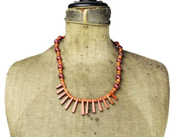 Red Jasper Bib Necklace, Red Jasper Bead Necklace, Red Bib Necklace, Long Red Necklace, Long Red Bead Bib Necklace