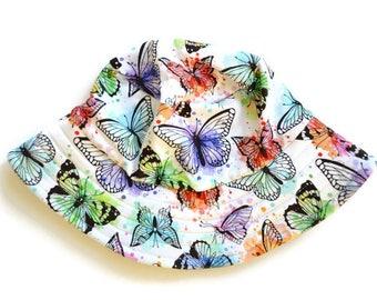 kids summer hat,girls bucket hat,baby sun protection,girls beach hat,butterfly sun hat,girls birthday gift,kids sun hats,wide brim hat