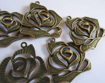 5 Bronze roses pendant rose flower Blossom