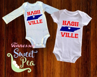 Tennessee baby etsy nashville home bodysuits unisex nashville made nashville baby clothing made in nashville negle Images