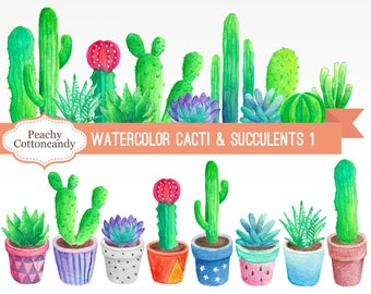 BUY 2 GET 1 FREE Watercolor Cactus Clipart 1 - cactus clip art - succulent clip art - watercolour cactus illustration -Commercial Use Ok