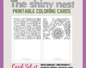 Coloring cards, printable note cards, blank notecards, adult coloring, mindfulness colouring, detailed complicated coloring