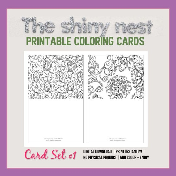 Coloring cards printable note cards blank notecards adult