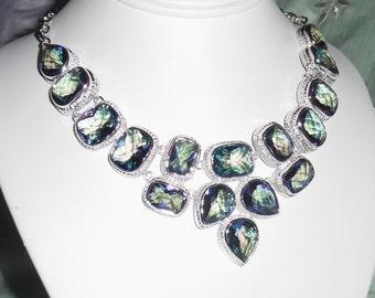 "Natural Rainbow Topaz Quartz, SOLID Sterling Silver Necklace , 91 grams, 22"" adjustable"